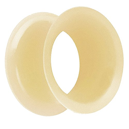 Piersando Flesh Tunnel Ohr Plug Piercing Ohrpiercing Double Flared Flexibel Silikon Dünner Rand 14mm Haut (Haut Dehnung Creme)