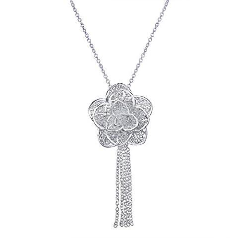 VIKI LYNN Bijoux de fleur en Plaqué Argent Collier en forme de Fleure Noble Deux Couches de Fleur Idée cadeau de Noël pour les dames élégantes (Emballage Cadeau)