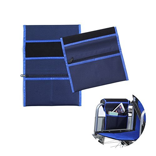 Walker Bags - Bolsa de viaje para silla de ruedas y scooter eléctrico, bolsa de transporte, reposabrazos lateral, organizador de malla, funda de almacenamiento – se adapta a la mayoría de rieles de cama, scooters, andador y silla de ruedas manual (azul-2 piezas), color azul