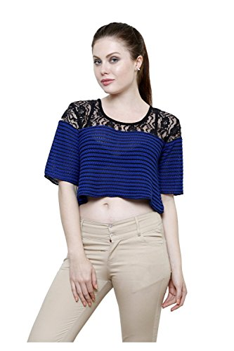 Renka Blue Round Neck Poly Cotton Lace Crop Tops For Women