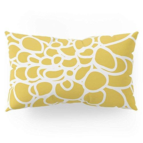 fengxutongxue Mustard Yellow Modern Dahlia Flower Pillow Sham King (20