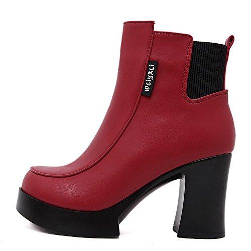 AgooLar Damen Ziehen auf Niedriger Absatz PU Gemischte Farbe Niedrig-Spitze Stiefel, Rot, 37