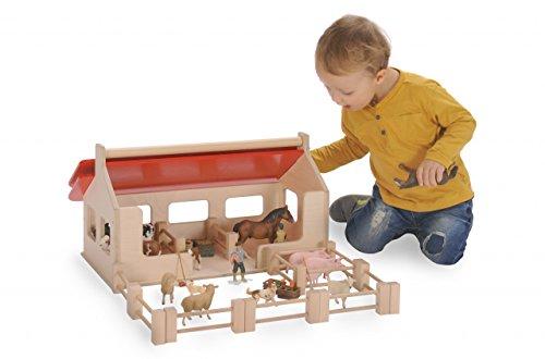 Großer Bauernhof + Zaunelemente (ohne Tiere!) / Material: Holz / Made in Germany / Maße: 55 x 32 x 28 cm / 3+ - Spielzeug-bauernhof-gebäude