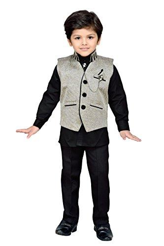 AJ Dezines Boys Indo Western Waistcoat Set (609-FAWN-4_Fawn_H2)