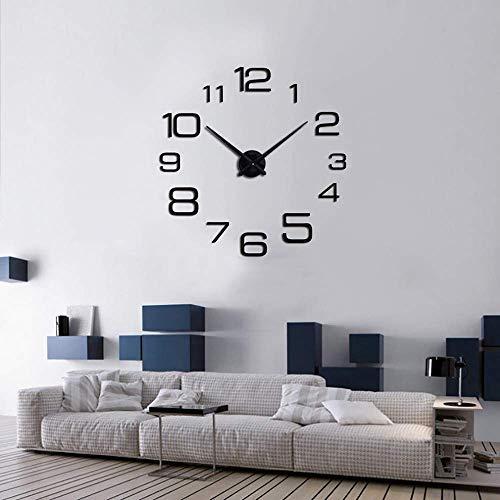 Ubaymax orologio da parete diy, 3d mirror frameless modern large watch,orologio adesivi murali removibili muti orologio moderno per soggiorno camera da letto home decoration (nero-2)