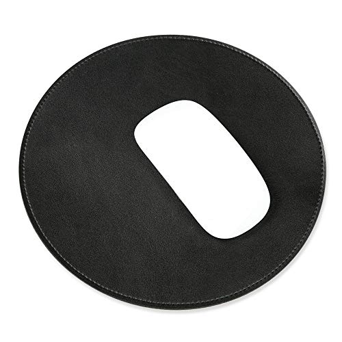 ProElife Premium-Aluminium-Metall-Mauspad/-Matte für Apple, Magic Mouse, Microsoft, Logitech, Tecknet, Razer, ZA-PU Leather-Black, Mouse Pad -