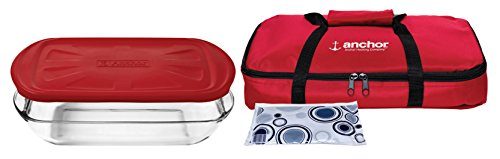 Anchor Hocking Essentials Bake-N-Take with Red Plastic Lid, Set of 2 by Anchor Hocking