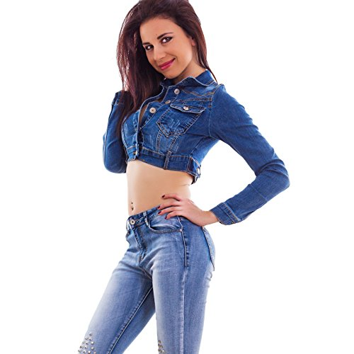 Toocool - Giacca donna jeans giacchetto corto giubbino giubbotto bottoni sexy nuovo KY95 Blu