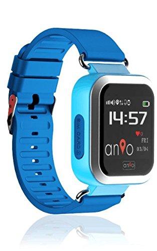 Anio3 Touch Blau - Kinder GPS Smartphone Watch/Kind Überwachung/SOS Notruf + Telefonfunktion/GPS Uhr/Wifi + lbs/Deutscher Hersteller/iOS & Android App/Geofence