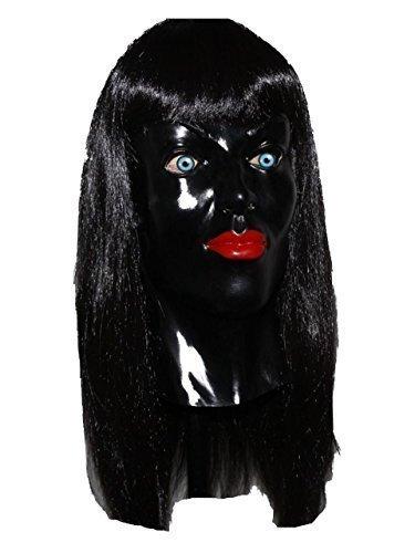 Schwarz-Fetisch Damen Latex Maske Transvestite Masquerade Kostüm (Maske Latex)
