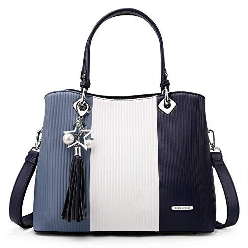 Pomelo Best Damen Handtasche Mehrfarbig gestreift Kunstleder Umhängetasche Shopper Tote Henkeltasche Damen Tasche Groß Size (Blau) - Eine Tasche Tote