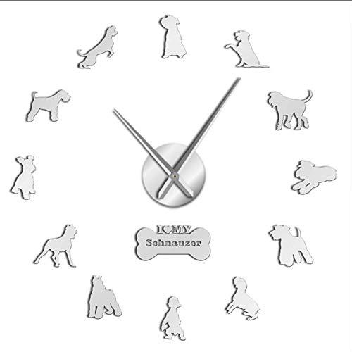 ne Schnauzer Hunderassen DIY Große Wanduhr Schnauzer Hund Dekorative Aufkleber Uhr Haustier Tierarzt Wand Dekor Hund Oweners Geschenke, 37 Zoll ()