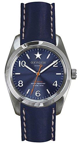 OXYGEN - EX-S-BOS-38-CL-NA - Montre Mixte - Quartz - Analogique - aiguilles luminescentes - Bracelet Cuir Bleu
