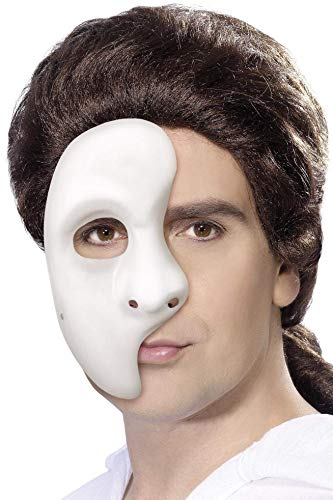 Phantom Kostüm Der Oper Fancy Dress - Smiffys Unisex Halbe Geister Gesichtsmaske, One Size, Weiß, 1593
