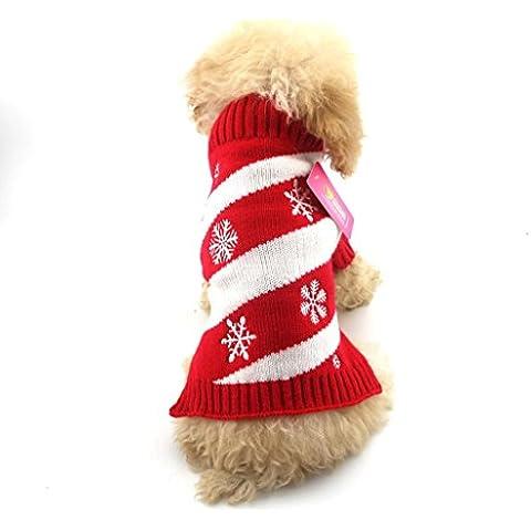 Tongshi Cachorro de invierno suéter traje abrigo de ropa perro mascotas Navidad copo de nieve