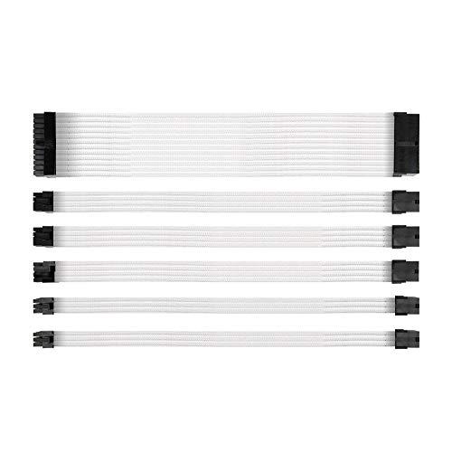 Antec Mod Ärmeln Netzteil Verlängerungskabel-Kit (ATX/EPS 8Pin PCI-E/6-W/Kämme weiß 300mm 24 Pin Wire