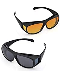 SEAFRONT HD Vision Day and Night Riding Trendmi Nightdrive Easy Wrap Around Anti-Glare Polarized Lens Unisex Sunglass for All Bikes Car Drivers (Yellow-Black) -Combo Pack Set of 2