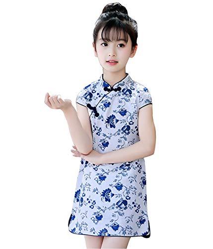 Dream3. Mädchen Kinder Cheongsam Blumenmuster Kleine Blumendruck Kleider Asia Cosplay Kleidung Hochzeit Cocktailkleid