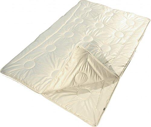 Garanta 4-Jahreszeiten Bettdecke 155 x 220 cm - Vier Jahreszeiten Plein-Air-Merino-Supra Schurwolldecke 625 g / 1000 g - Bezug feiner Edelsatin (100% Baumwolle)