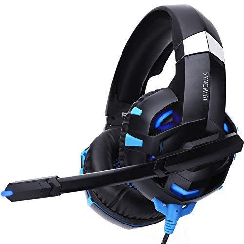 Syncwire Gaming Headset PS4 Kopfhörer - Surround Sound 7.1 Kopfhörer mit Mikrofon & LED-Licht, On Ear Ohrhörer für PS4, PS3, PC, Xbox One, Laptop, LX20, LX30, Nintendo Switch Spiele