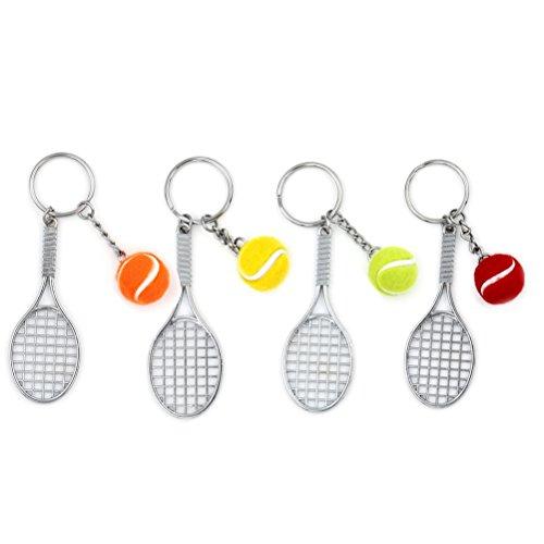 uoeo 4PCS Bunter Spielball Tennis, Tennisschläger Schlüsselanhänger Sport Liebhaber Schlüsselanhänger