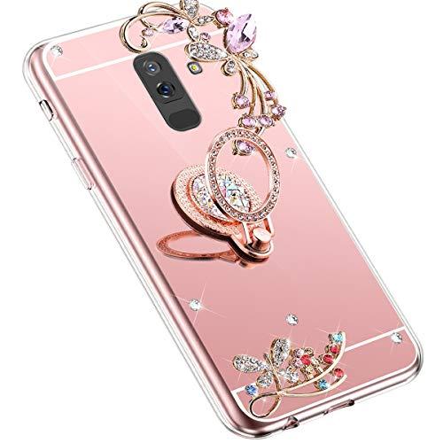 Uposao Kompatibel mit Samsung Galaxy J8 2018 Handyhülle Strass Diamant Bling Glitzer Spiegel Schutzhülle Mirror Case Schmetterling Blumen Silikon Hülle Tasche mit Ring Halter Ständer,Rose Gold