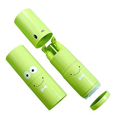 Edelstahl Kleinkind-cup (Mehrzweck-Travel Zahnbürste Cup Outdoor Wash Cup Set Toilettenartikel Speicher keine Handtuch grün)