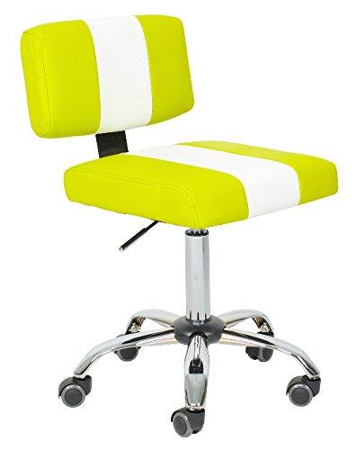 Bürostuhl Drehstuhl Rollhocker LEHNA von 1stuff - hochwertige PU-Rollen für harte Böden - Drehhocker, Arbeitshocker, Arzthocker, Praxishocker, Friseurhocker, Drehhocker, Küchenstuhl, Küchenhocker hochwertige PU Rollen für Fliesen, PVC, Laminat und Parkett - Sitzhöhe 47-64 cm - höhenverstellbar, 360 Grad drehbar - - auch ideal für Optiker, Friseure, Tätowierer, Masseure, Schneider u.v.m. (grün-weiß)