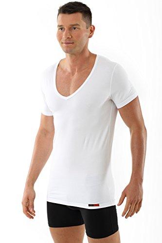 3-knopf-v-neck (ALBERT KREUZ Deep-V-Unterhemd Business Herrenunterhemd aus Stretch-Bauwolle mit extra-tiefem V-Ausschnitt Kurzarm weiß 5/M)