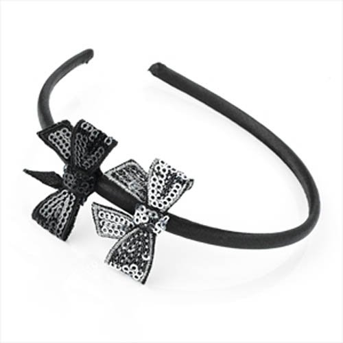 Sequin Bow Headband (Black & Silver Sequin Bow Alice Band AJ24955 by Alice Bands)