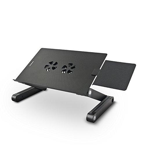 eSmart | Laptoptisch Noki | Höhenverstellbarer Laptopständer mit Mausablage und integriertem Kühler | Schwarz | Aluminium