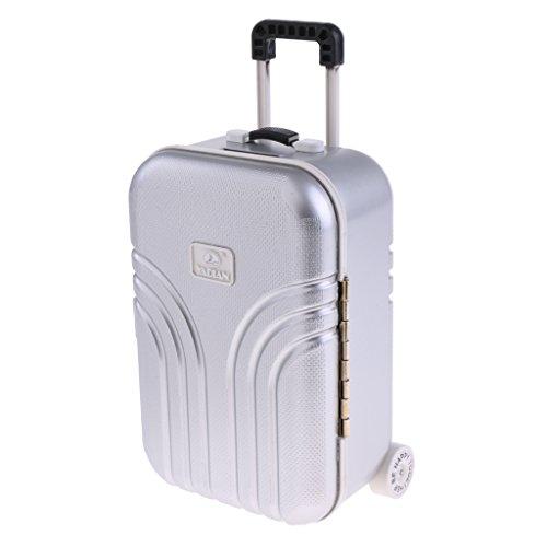 Baoblaze 1 Stück Miniatur Koffer Trolley Reisekoffer für 1/6 Puppenhaus Puppenstube Deko Zubehör - Silber