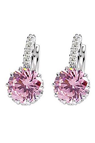 Pendientes - SODIAL(R)Mujer Encantador Joya de oreja Pendientes de Huggie de diamante de imitacion de circon grande Maravilloso regalo - Rosado