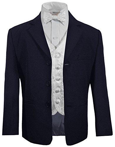 Festlicher Kinder Anzug (Tailliert) Blau + Weiß barocke Weste mit Fliege 14