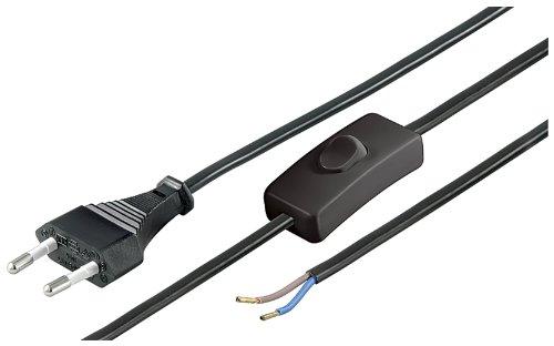 Goobay Netzkabel (Eurostecker und Schalter auf abisolierte Kabelenden) 1,5m schwarz