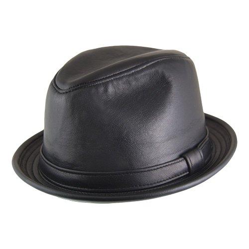 Village Hats Chapeau Trilby en Cuir noir NEW YORK HAT CO. - LARGE