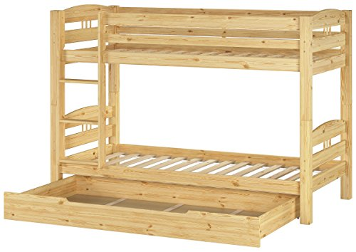 Erst-Holz® Kinder Etagenbett Kiefer Massivholz Stockbett 90x200 Hochbett Rollroste Bettkasten 60.10-09 S1