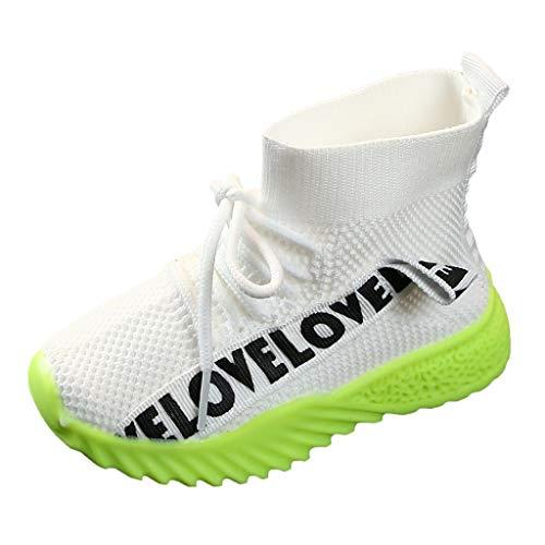 Sllowwa Babyschuhe Jungen Mädchen Baby Unisex Kinder Lauflernschuhe Krabbelschuhe Babysneaker Brief Stretch Run Sneakers Sportschuhe Stiefel(Weiß,24) - Schaffell Baby Booties