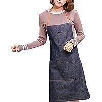 Gespout Chef Delantal CocinaVaquero Delantal Damas Sin Mangas Delantal Cocina Delantal Café Asado Hotel Restaurante Ajustable 1 Pieza Azul 71 * 65 cm