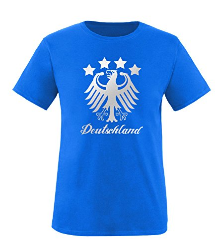 Luckja EM 2016 Deutschland Adler Fanshirt Silver Edition M 01 Herren Rundhals T-Shirt Royal/Silber