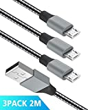 Quntis Micro USB Kabel Nylon 3 Pack 2 M, 2,4 A USB Schnellladekabel High Speed Sync Ladekabel für Samsung, HTC, Huawei,