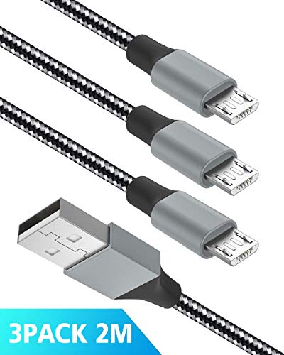 Quntis Micro USB Kabel Nylon 3 Pack 2 M, 2,4 A USB Schnellladekabel High Speed Sync Ladekabel für Samsung, HTC, Huawei, Sony, Nokia, Nexus, Kindle und Weitere Android Smartphones (Schwarz)