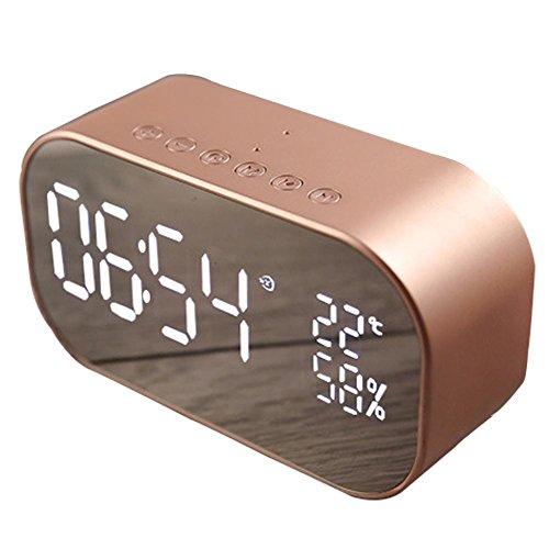 Purebesi Bluetooth Lautsprecher mit Wecker Wireless Mini Speaker Computer Auto Subwoofer digitaler Wecker (Zimmer-wecker)