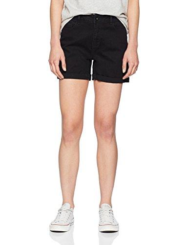 VERO MODA Damen Vmhot Seven NW Dnm Fold Shorts MIX Noos, Schwarz (Black Black), 38 (Herstellergröße: - Für Frauen Kurze Jean-shorts