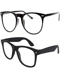 Y&S Black Frame Clear Lense Selfie + Clear Square Unisex Eyeframe Combo Eye Frame for Mens Womens Boys and Girls