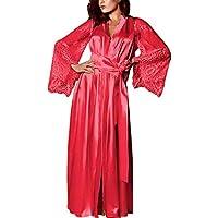 Luckycat Moda De La Mujer Kimono De Seda Sexy Vestido CóModo Babydoll Encaje Ropa Interior CamisóN CinturóN Albornoz Albornoz Pijamas(S-XL)