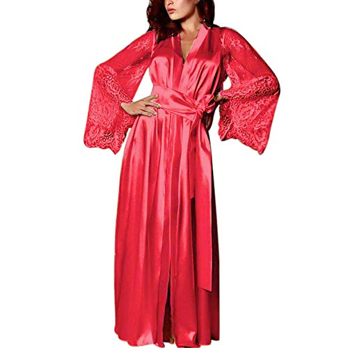 Bluelucon Nachtwäsche Damen Spitze Negligees Morgenmantel Lange Kimono Robe Satin Bademantel ()