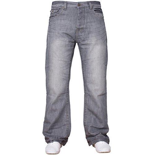 APT Herren einfach blau Bootcut weites Bein ausgestellt Works Freizeit Jeans Große Größen in 3 Farben erhältlich - grau, 36W x 30L (Grau Weites Bein)