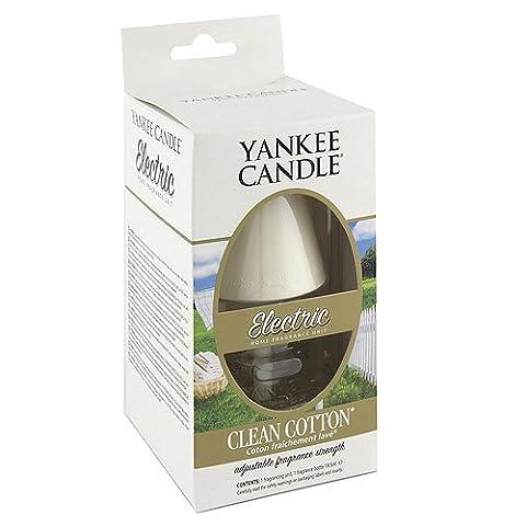 Yankee Candle 1071010E Elektrischer Duftstecker mit 1 Stück Clean Cotton Nachfüllung, Plastik, Weiß, 9.9 x 8.3 x 14.9 cm