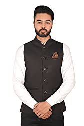 Wearza Mens Black Woven Cotton Blend Sleevless Rounded Bottom Nehru and Modi Jacket Ethnic Style For Party Wear, Sizes S-XXXL